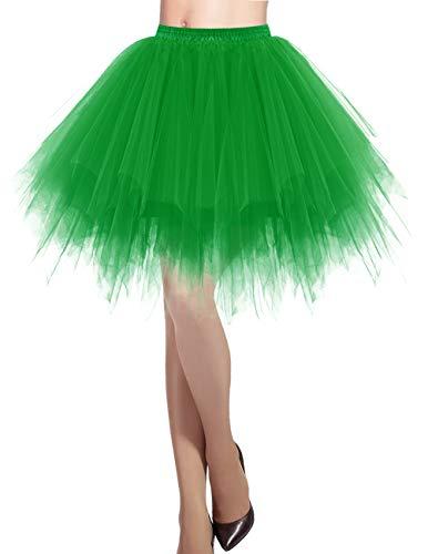 DRESSTELLS Damen Tüllrock 50er Rockabilly Petticoat Tutu Unterrock Kurz Ballett Tanzkleid Ballkleid Abendkleid Gelegenheit Zubehör Green L