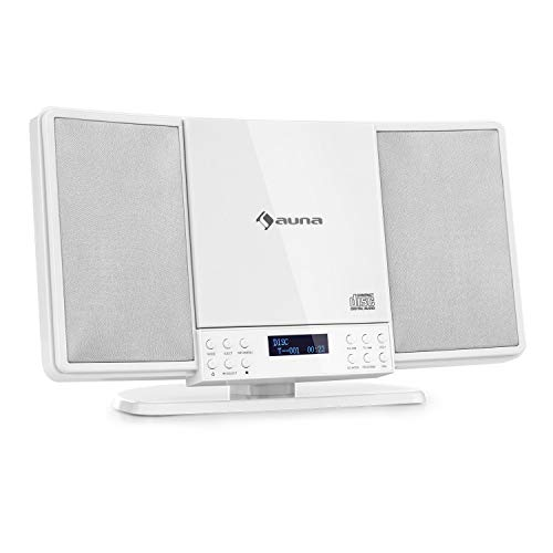 auna V14-DAB Equipo estéreo Vertical - Bluetooth , Radio FM y Dab+ , Reproductor de CD, Display , AUX , Temporizador de Apagado , Apto para Montar en Pared ,Diseño Compacto , Blanco