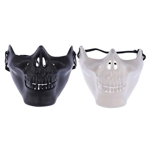 Amosfun 2 Pcs Skull Mask Skull Skeleton Mask Halloween Mask Full Face Mask Skull Shaped Face Protector Halloween Mask for Cosplay Masquerade Party (Black and White)