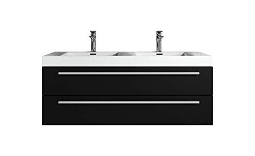 Badezimmer Badmöbel Set Rome 120cm schwarzes Holz - Unterschrank Schrank Waschbecken Waschtisch