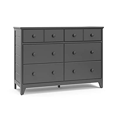 Storkcraft Moss 6 Drawer Universal Double Dresser (Gray) - Bedroom Furniture Storage, Modern Farmhouse Style, Sturdy and Durable Wood Construction, 6 Deep Spacious Drawers, Steel Hardware