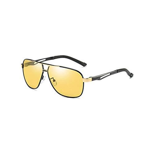 Gafas de sol europeas y americanas que cambian de color, hombres y mujeres, gafas de sol, película de visión nocturna con marco dorado negro