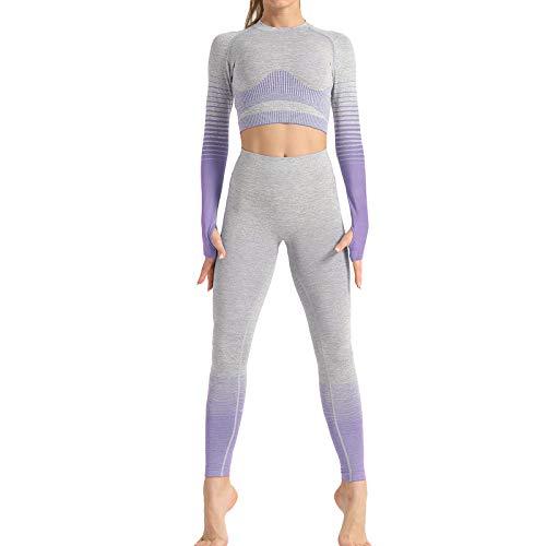lkjhgfd Damen Trainingsanzug Sportswear Set, Langarm Tops und Bodycon-Hosen 2 stücke Sport Outfits, Gymnastik Jogging Yoga Pilates Fitness Purple-M