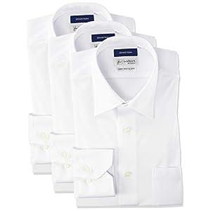[アイシャツ] i-shirt 完全ノーアイロン ストレッチ 超速乾 スリムフィット 長袖 アイシャツ ワイシャツ メンズ ホワイト 無地 長袖レギュラーカラー 3枚セット S80(首回り37cm×裄丈80cm)-(日本サイズS相当)