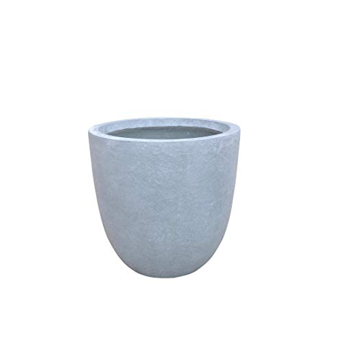Kante RC0050B-C60611 Lightweight Concrete Modern Outdoor Round Planter, Slate Gray