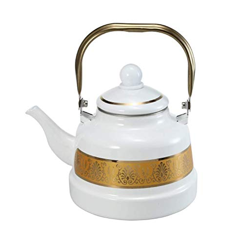 ZMHVOL 1.1L-2.5L white Household Kettle Lace Enamel Cup Whistle Kettles Enameled Kettle for Gas Stove Enamel Coffee Pot (White, 2.5L) Kettles Hot Water Dispensers WANGHN
