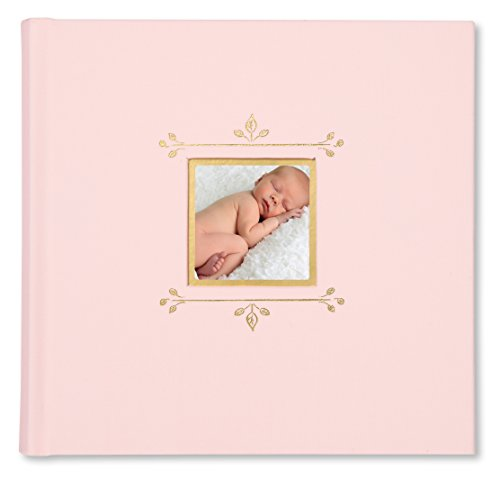 """C.R. Gibson Pink Cloth Slim Bound Photo Journal Album for Baby and Newborn Girls, 9"""" W x 8.875"""" H, 80 Pages"""