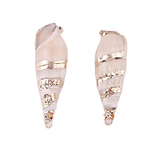 DYKJK 10 abalorios de concha natural para hacer joyas, colgante de conchas marinas, para hacer joyas, collares y pulseras de bricolaje (color metálico: L)