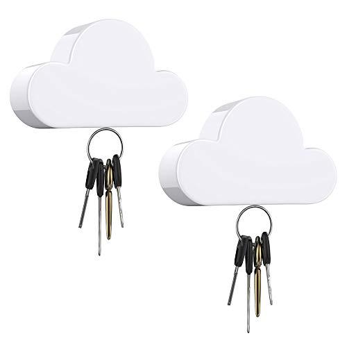 Dadanism [2 PZS] Soporte Magnético para Llaves en Forma de Nubes, Colgador Porta Llaves Magnético para Entrada Puerta de Casa, Oficina, y Decoración de Sala de Estar - Blanco