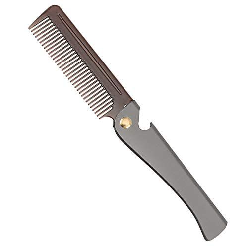 Stainless Steel Folding Comb, Pocket Comb for Men and Women, Dark Gray