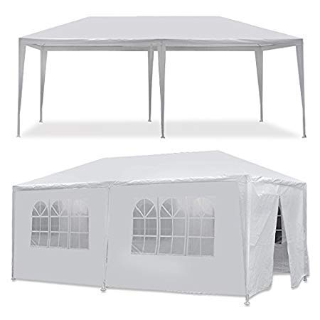 Keepbest 10' x 20' Outdoor White Waterproof Gazebo Canopy Tent with Removable Sidewalls Windows Heavy Duty Tent for Party Wedding Events Beach BBQ