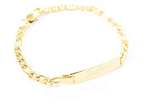 Tina&Co Personalized Gold Name Plated Bracelet 4.5'' Free Engraved Bracelet for Baby