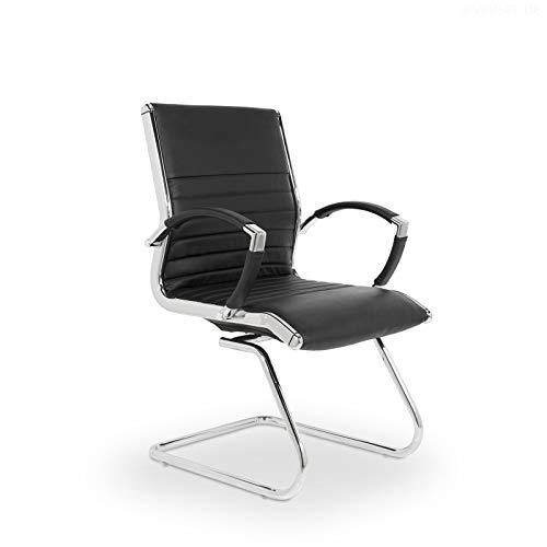 VERSEE Design Konferenzstuhl Freischwinger Montreal - Echt-Leder - schwarz - mit Armlehnen