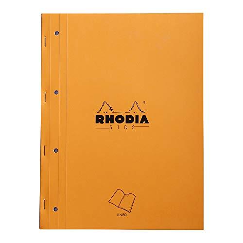 Clairefontaine 118014C - Un bloc de cours Rhodia Side agraphé côté 80 feuillets détachables perforés 4 trous 22,3x29,7 cm 80g lignés, Couverture Orange
