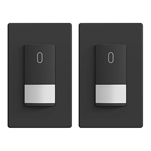 ELEGRP Occupancy Sensor Light Switch, PIR Infrared Motion Activated Wall Switch, No Neutral Wire, Single Pole for CFL/LED/Incandescent Bulb, Wall Plate Included, UL Listed (2 Pack, Matte Black)