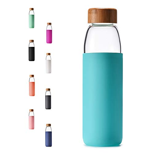 Veegoal 18 Oz Borosilicate Glass Water Bottle With Bamboo Lid And Protective Sleeve-Bpa Free (Teal)