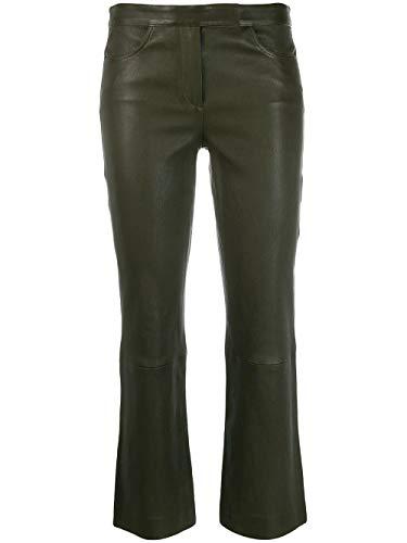 Luxury Fashion | Theory Dames J0700206WUU Groen Leer Broeken | Herfst-winter 19