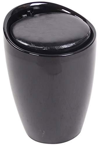 CLP Taburete Annency En Simil Cuero I Puff De Almacenamiento con Tapizado Extraible, Color:Negro