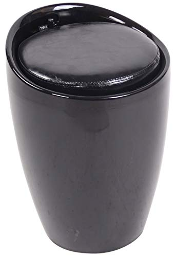 CLP Sgabello Pouf Contenitore Imbottito Annecy in Plastica E Similpelle I Puff Portaoggetti Design con Coperchio, Colore:Nero
