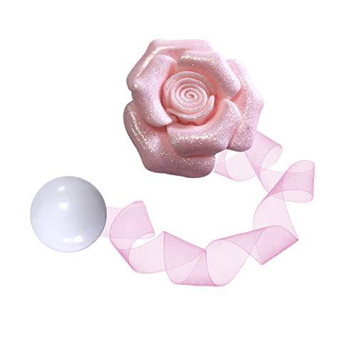 CHICTIE Bling Rose Flower Curtain Tiebacks Magnetic Drapes Rope Holdbacks Pack of 2 (Pink)