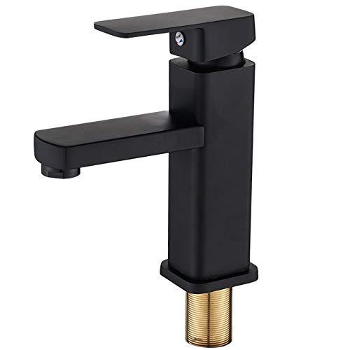 RenxiaoliAngqhdz Faucet Acero Inoxidable Cuenca Hot y Frío Grifo Cuadrado Grifo de cuenca negro en cubierta Baño (Color : Black faucet 18CM)