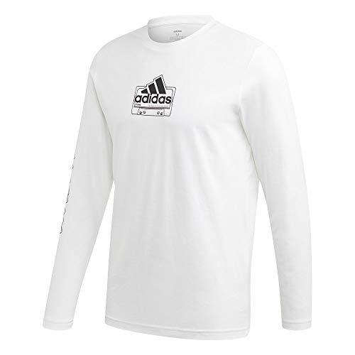 adidas Herren M Cassette Tape Longsleeve Tee T-Shirt, White, XS