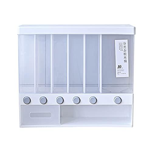 #N/a Dispensador de semillas de arroz montado en la pared 6 en 1, caja de arroz de granos, dispensador de alimentos secos de almacenamiento dividido,