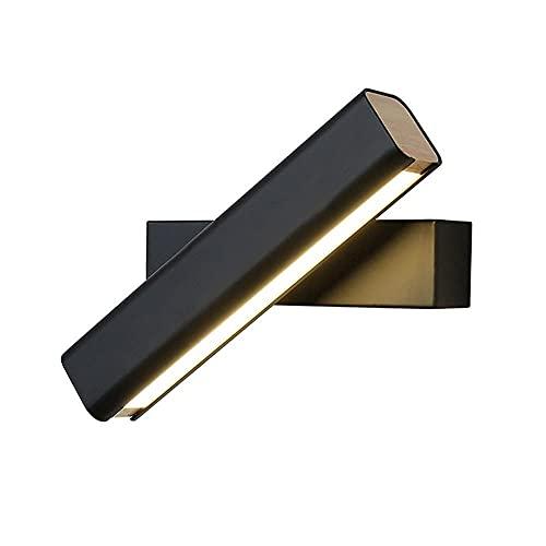 Apliques de pared, lámpara de pared nórdica simple en blanco y negro, LED creativo de 8 W, rotación de cabecera, aplique tenue ajustable, iluminación interior, accesorio de acrílico cuadrado con int