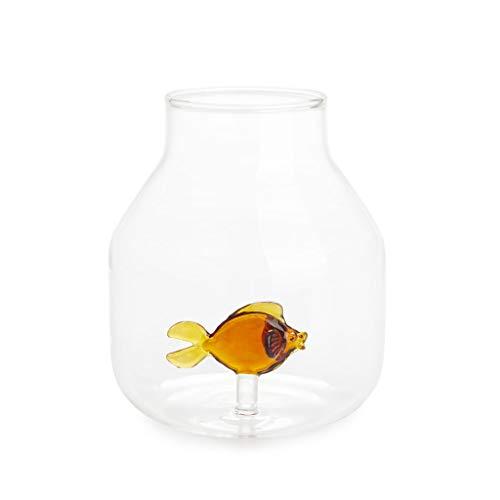 balvi Blumenvase Atlantis Bernstein Farbe Konische Vase mit Glas Fisch im Innern Original dekorative Vase mit Blumen Borosilikat 15x13x13