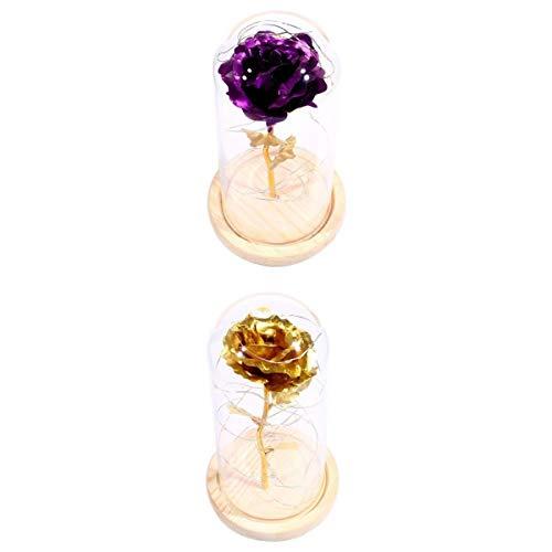 Rose in Wooden Base Led Flower Lamps 2Pcs