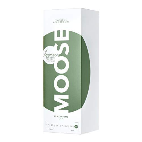 Loovara 42 Kondome in individuellen Größen - Kondomgröße 69 - Size Moose - Latexfreie Kondome dünn aus Fair Rubber - Für mehr Fun & Feeling beim Sex - Vegane Präservative im 42er Pack