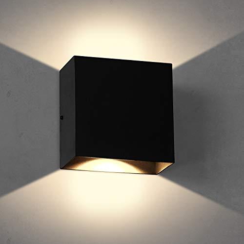 2 Stücke LED Wandleuchte, OOWOLF 6W Up Down Indoor Wandleuchte Moderne Aluminium Wandleuchte Leuchten für Wohnzimmer Schlafzimmer (Schwarz, 1 Stück)