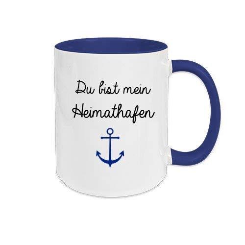 Du bist mein Heimathafen mit Anker Motiv- Tasse aus Keramik mit Spruch und Name, kleine Aufmerksamkeit und besonderes Geschenk