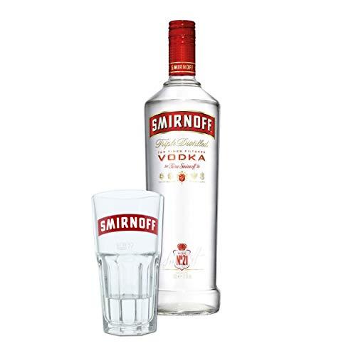 Smirnoff Red No. 21 Premium Vodka Triple Destilled, Wodka, Alkohol, Alkoholgetränk, Flasche, 37.5%, 1 L, 708275, inklusive Gratis Glas