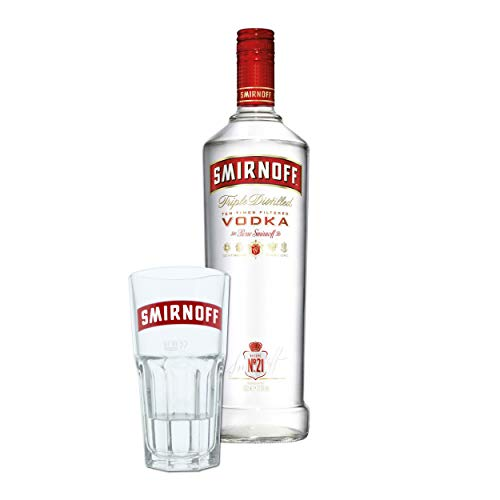 Smirnoff Red No. 21 Premium Vodka Triple Destilled, Wodka, Alkohol, Alkoholgetränk, Flasche, 37.5%, 1 L, 708275, inklusive Gratis Glas