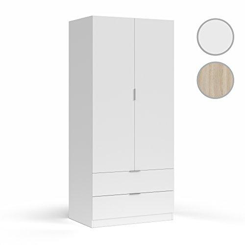 Habitdesign LCX222O Armario Dormitorio Ropero 2 Puertas y 2 cajones, Blanco, 181 x 81 x 52 cm