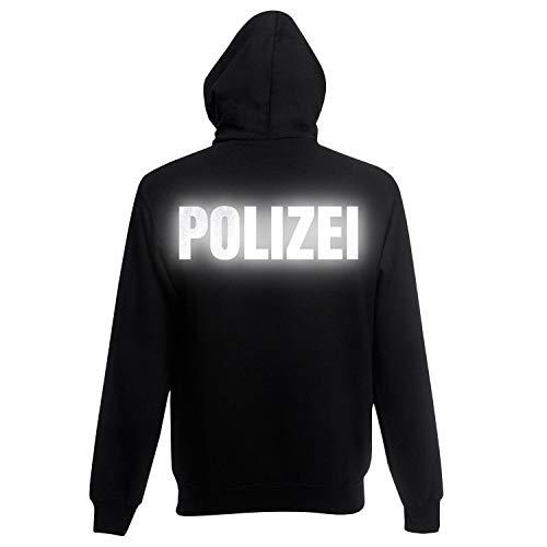 Shirt-Panda Herren Polizei Hoodie - Druck Brust & Rücken Reflex Schwarz (Druck Reflex) XXL