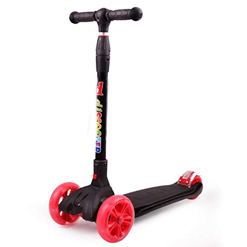 Thole Patinete Plegable NiñO Tipo Scooter Rueda De Flash De PU con Manillar Ajustable Freno Apto para 3-14 AñOs,Red