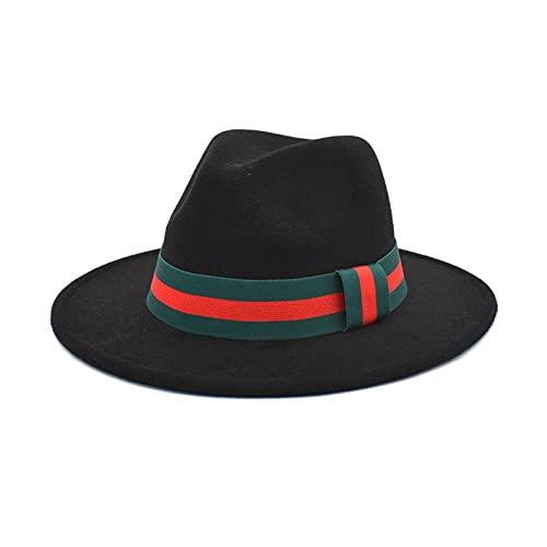 Wool Felt Fedora Hat for Women Men Wide Brim Straight Side Men Women Jazz Top Hat Panama Caps with Luxury Thin Belt (Color : 2, Size : 56 58cm)