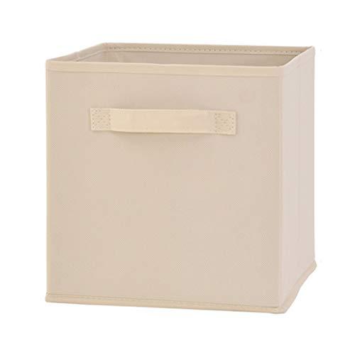 Dongyd Caja de almacenamiento, plegable, organizador para ropa, DVD, libros, alimentos, ropa de cama, arte y manualidades, 11 pulgadas x 10.5 pulgadas (color beige)