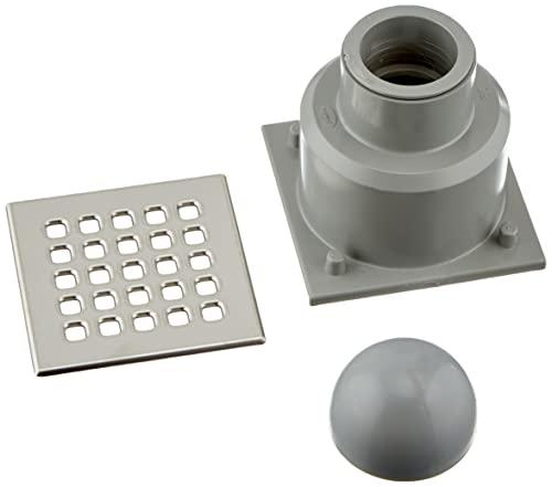 Jimten 24048 Sumidero sifónico horizontal (105 x 105, 50/40), cromo y gris, estándar