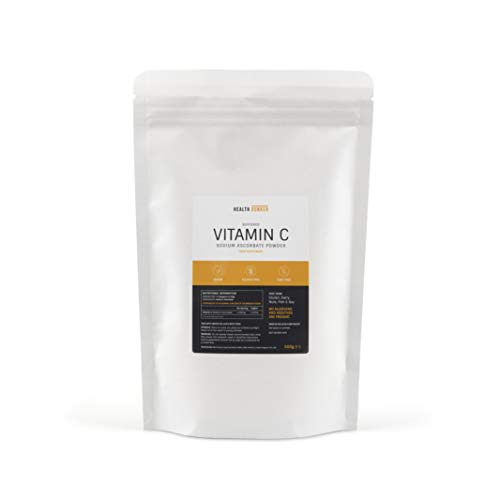 Health Bunker Buffered Vitamin C Powder 500g Sodium Ascorbate | UK Made | Non GMO, Vegan, Gluten Free, Dairy Free, Nut Free | Manufactured to GMP