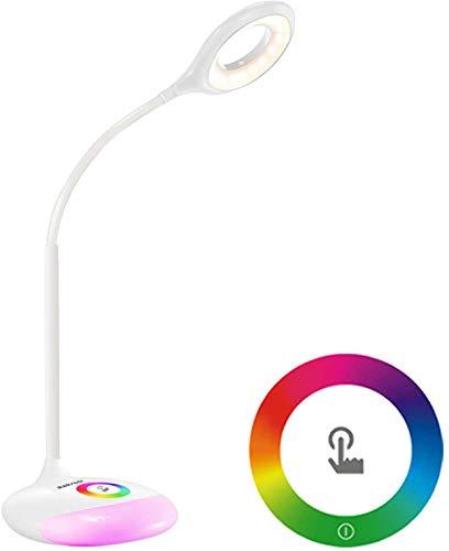 Led-bureaulamp met variabele sokkellampen in 256 kleuren, zwanenhals-tafellamp met oplaadbare batterij, oogverzorgende leeslamp voor kinderen, bed, met USB-oplaadpoort,