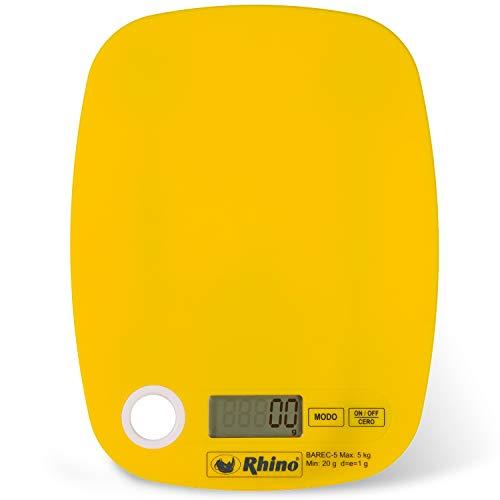 Balança digital para cozinha, 5 kg. / 1 g, Rhino BAREC-5 Design Ultra Leve e Compacto com argola para poder pendurar. Calcular o peso em gramas, libras e onças.
