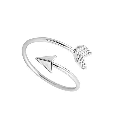 Nowbetter semplice anello a freccia aperto regolabile anello eternity fidanzamento matrimonio festa regalo per donne fidanzate, metallo, Silver, Regolabile