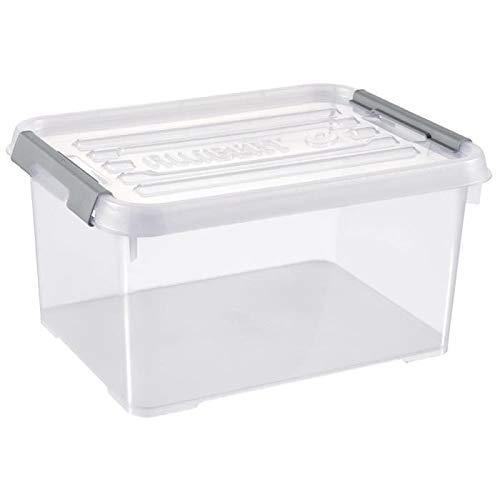 CURVER | Boîte de rangement Handy box Plus 15L + clips Gris avec couvercle, Transparent, 40 x 29 x 20 cm, Plastique
