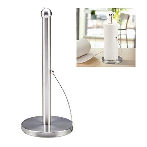 Relaxdays Küchenrollenhalter stehend, gebürsteter Edelstahl, Papierrollenhalter für die Küche, HxD: 35 x 15 cm, silber, 10030705