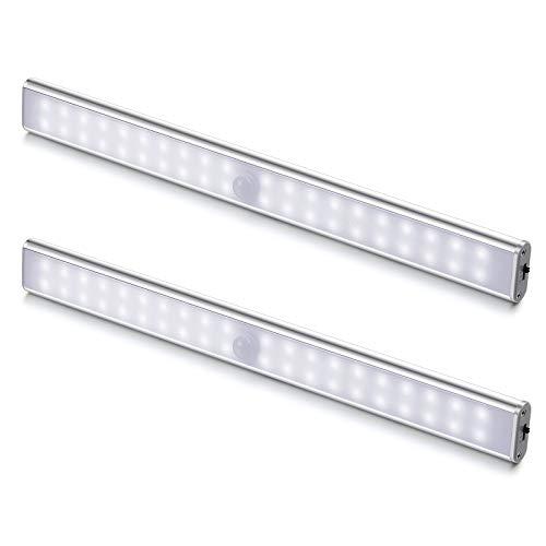 Luci LED Camera da Letto, 40 LED con Sensore di Movimento, Luci LED a Batteria con Striscia Magnetica Adesiva per Armadio, Scale, Corridoi, Cucina, Garage (2 Luce Bianca)