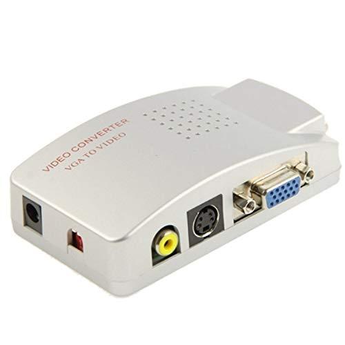 Mediawave Store 819019 - Convertidor de vídeo de alta resolución de vga a rca s-video para TV, PC, Notebook, adaptador euroconector cable S-Video aprox. 1,2 m, compatible con Windows y Macintosh