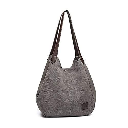 Bolso de hombro para mujer, de lona, para mujer, con múltiples bolsillos, estilo vintage, para compras, trabajo, escuela, viajes, casual, diario